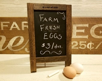 Rustic Chalkboard Wooden Farmhouse Easel Reversible Corkboard Life is Better with Chickens