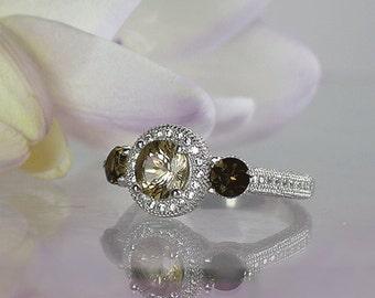 Black gemstone engagement ring, Black Gemstone Ring, Herkimer Diamond Ring, Natural Diamond Alternative, Conflict Free Ring, Eco Friendly