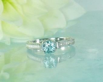 Blue Zircon Ring, Zircon Ring, Zircon Sterling Ring, Zircon Silver Ring, Engagement Ring, Blue Engagement Ring, Zircon Jewelry, Zircon