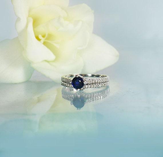 Saphir Hochzeit Set Blau Saphir Ring Set Saphir Silber Etsy