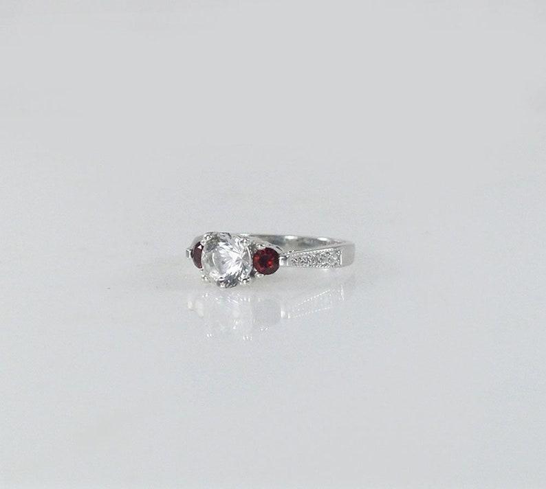 Red Garnet Ring Garnet Three Stone Ring Birthstone Mothers Ring Herkimer Diamond Ring Garnet Birthstone Ring Herkimer Diamond