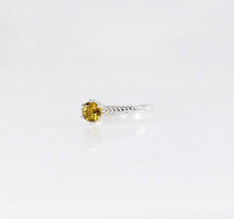 Birthstone Solitaire Ring Tourmaline Solitaire Ring October Birthstone Ring Yellow Tourmaline Ring Tourmaline Sterling Ring