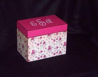 Recipe Box - Wood Recipe Box - Keepsake Box - Pink Roses - Wedding Gift - Shower Gift -  Personalized