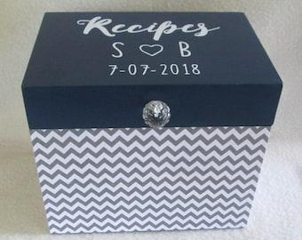 Recipe Box - Wood Recipe Box - Wooden Recipe Box - Storage Box - Kitchen Storage - 4X6 or 5X7 Navy , Gray - Chevron - Personalized - Gift