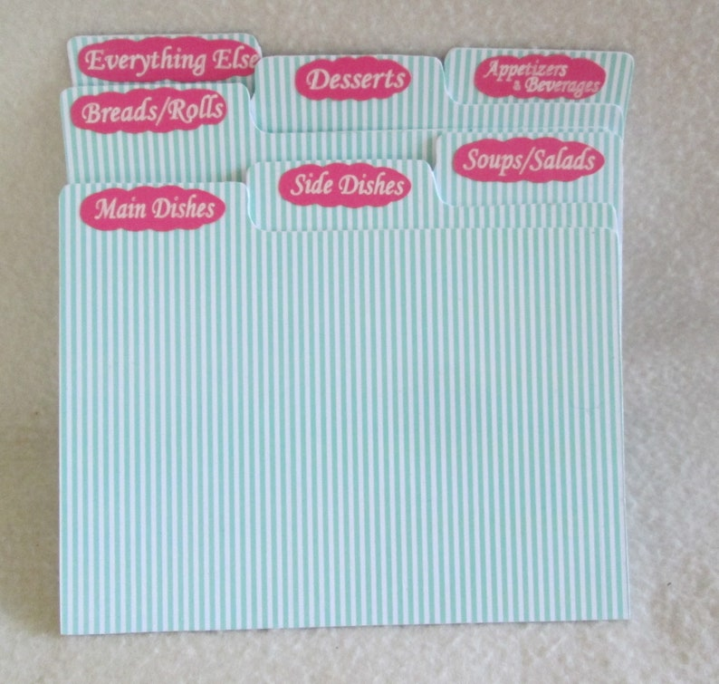 Recipe Box Dividers - Recipe Organizers - Index Cards - 4X6 or 5X7 Recipe  Box Dividers, Green - Rose - Gift