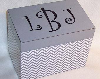 Recipe Box, Gray Chevron Wooden Recipe Box - 4X6 -  5X7 - Keepsake Box -  Personalized -Shower Gift