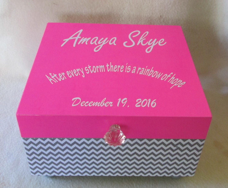 Large Memory Box Keepsake Box Gray Chevron Pink