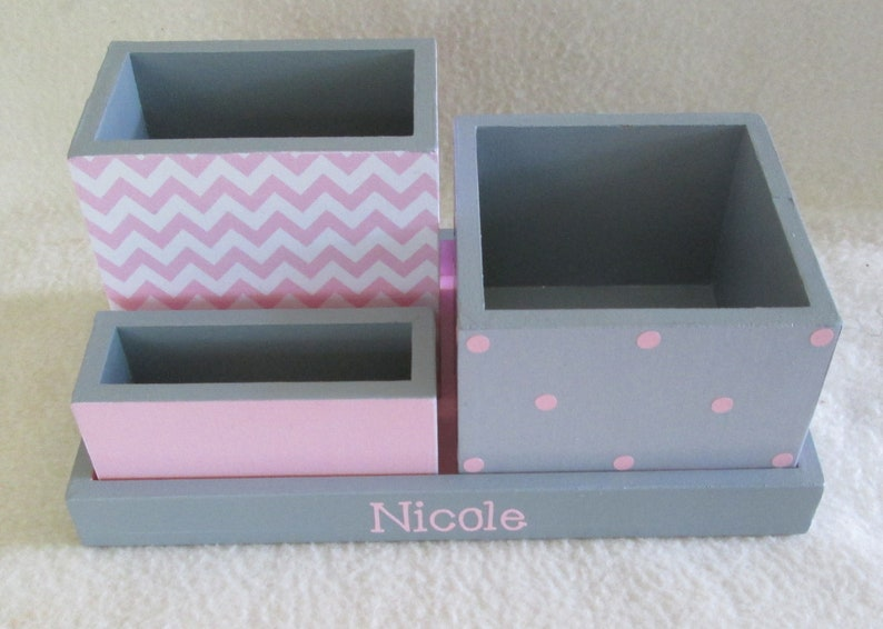 Phenomenal Personalized Desk Organizer Office Or Home Organizer Pencil Holder Set Gray And Pink Desk Organizer Pink Chevron Polka Dot Gift Download Free Architecture Designs Estepponolmadebymaigaardcom
