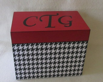 Decoupaged Houndstooth Recipe Box - Red and Black - Wooden Recipe Box - Kitchen Organizer - Storage Box -  Keepsake Box - Personalized