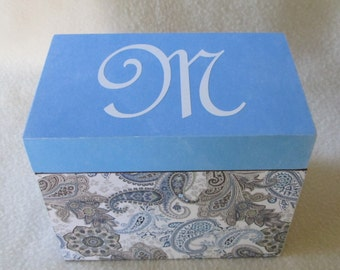 Recipe Box -  Blue and Brown Paisley 4X6  or 5X7 Wooden Recipe Box - Personalized- Keepsake Box