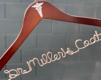 Doctor Coat Hanger, Caduceus Decal Hanger, Medical Gifts for Women, Medical Gifts for Men, Med Student Gift, Personalized Hanger