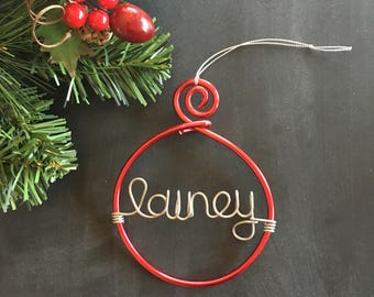 Personalized Christmas Ornament, Xmas Ornament, Custom Wire Ornament, Baby's First Christmas, Keepsake Ornament, Etsy Gifts, Red Ornament