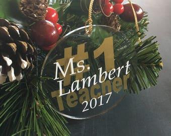 Personalized Teacher Christmas Gift, Teacher Ornament, Best Teacher Gift, Custom Ornament, Teacher Gifts, Appreciation Gifts
