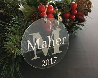 Monogrammed Christmas Ornaments, Personalized Ornaments, Personalized Family Christmas Ornaments, Personalised Christmas Decorations