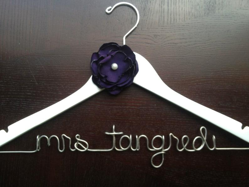 Personalized Hanger Bridal Gown Hanger Wedding Day Hanger Bride Hanger Wedding Dress Hanger Wire Name Hanger Engagement Gift
