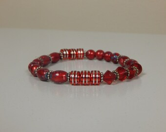 Red and Silver Beaded Stretch Bracelet, 7-1/2 inches, Birthstone Jewelry