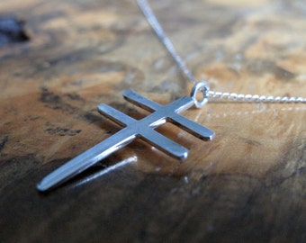 sterling silver cross necklace   'Double Cross'   dragonfly