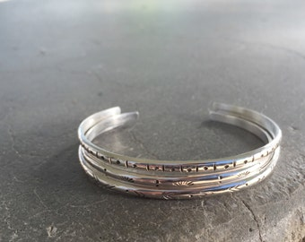 Lore Cuffs   Stamped Stacker Cuff Bracelets   Individual or Set of 3   Sterling Silver   14k Gold Fill