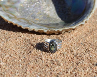 Sterling Silver Abalone   Children of the Sea Ring   Made to Order