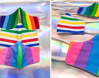 Thick Washable Reusable 4-ply Cotton Poly Protective Face Mask Health Safety Cold Weather Rainbow Primary Color Striped 80s Adult Youth