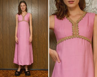Vintage 60s 70s Pink Gold Trim Rainbow Rhinestone Empire Waist Boho Hippie Pastel Full Length Maxi Lined Wedding Bridesmaid Dress XS