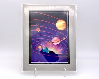 Vintage Solar System Graphic Universe Space Foil Etching Art Print Shiny Purple Black Silver Double Mat Ready to Frame 8x10 Image 7.5 x 5.5
