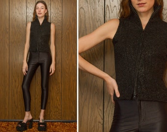 Vintage 90s Black Metallic Collared High Neck Turtleneck Double Zip Thick Textured 3-D TInsel Sweater Vest Sleeveless Lurex Blouse Tank Top