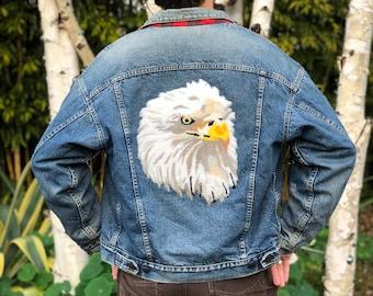 Vintage 80s Levi's USA Levis Chenille Bald Eagle Embroidered Back Patch Bird Wildlife Denim Jean Buffalo Plaid Button Lined Jacket Coat S M