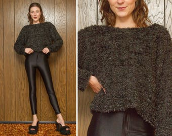 Vintage 90s Crop Metallic Glitter Black Fuzzy Furry Cropped Textured Tinsel Long Sleeve Scoop Neck Sweater Slouch Jumper Top Blouse S M L