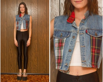 Vintage 90s Black Red White Yellow Blue Green Tartan Plaid Grunge Festival Hipster Punk Flannel Patchwork Sleeveless Denim Jean Crop Vest M