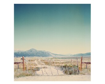 Print Only - Bridgeport California Rural Landscape Dirt Road Fence Film Color Mountains Twig Dirt Road Grass Photography Photograph Square