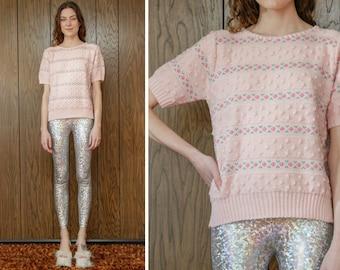 Vintage 90s Y2K Girlie Pink Flower Rose Pom Pom Textured Pastel Teal Magenta Spring Short Sleeve Easter Crew Neck Sweater Blouse Top S M L