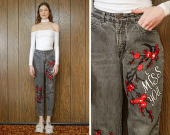 Vintage 90s Gap Denim Red Black Grey Miss You Cherry Blossom Love Flower Floral Embroidered Patch High Waist Jean Boyfriend Jeans S 5 / 7 26