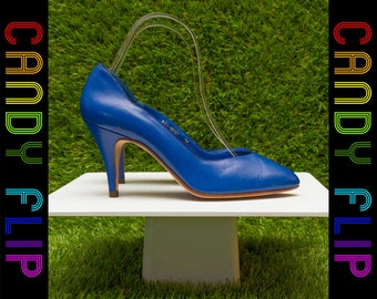 Vintage 80s Sutton Plaza Made in Brazil Shiny Royal Blue Leather High Pointed Heel Closed Toe Women's Pump Shoe 7 M