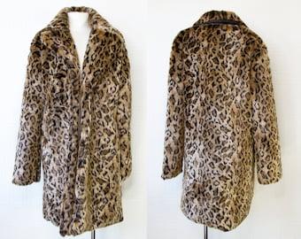 Vintage Y2K Oversized Heavy Leopard Cheetah Print Faux Fur Lined Plush Collared Soft Pocket Long Sleeve Jacket Winter Fashion Coat XL XXL 2X