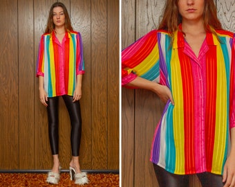 Vintage 80s Lady Shapely Shiny Sheer White Rainbow Striped Collared Button Half Sleeve Cover Up Overized Tunic Shirt Blouse Top Plus 40 L XL
