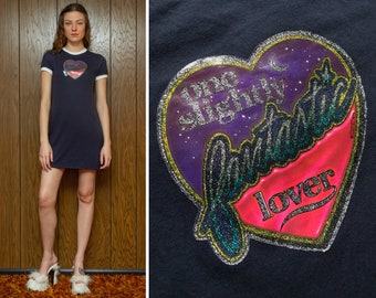 Vintage 70s Navy Blue White Shiny Metallic Glitter One Slightly Fantastic Lover Heart Graphic On Short Sleeve Mini Ringer T Shirt Dress XS S