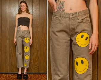 Vintage 90s Levi's 501 XX Red Tab Ash Gray Yellow Black Happy Face Patchwork Patch Short Ankle Straight Leg Altered Denim Jean 28x28