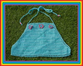 Vintage Deadstock 90s Teal Sky Blue Mauve Pink Summer Festival Crochet Sheer Mesh Beaded 3-D Flower Cotton Crop Halter Top One Size S M L