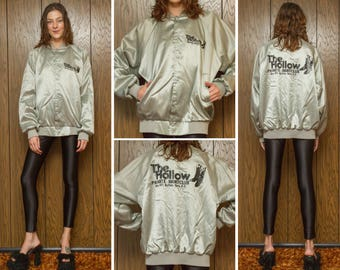 Vintage 80s The Hallow Nightclub Bouncer Western Boots Black Silver Shiny Nylon Snap Button Screen Print Screened Line Dance Jacket Coat L