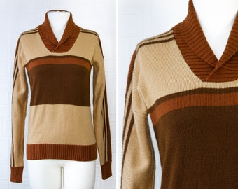 Vintage 70s 80s Clearwater Bay Brown Tan Beige Copper Amber Orange Striped Collared V Neck Long Sleeve Grandpa Preppy Sweater Top fits S M