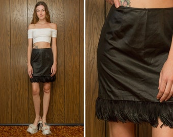 Vintage 90s Cache Shiny Black Real Feather Trim Faux Leather Liquid PVC Club Raver Grunge Goth Witch Wiccan Teen Queen Short Mini Skirt S M