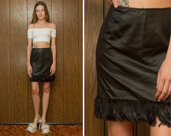 Vintage 90s Cache Shiny Black Real Feather Trim Faux Leather Liquid Club Raver Grunge Goth Witch Pencil Short Mini Skirt XS S M