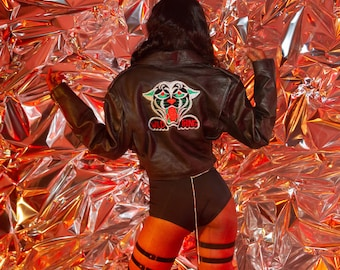 Vintage 90s Black Leather Silk Embroidered Velvet Panther Red Green Silver Metallic Wild Thing Crop Cropped Lined Motorcycle Patched Jacket