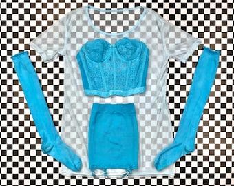 Vintage Aqua Teal Blue White Garter Belt Skirt Underwire Bustier Padded Bralette Corset Floral Lace Knee High Sock Mesh Top Lingerie Set XS