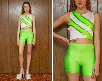 Vintage 90s Day Glow Neon Lime Green White Sequined Sleeveless Crop Top Striped Biker Aerobic Baton Dance 2 Piece Biker Shorts Costume Set S