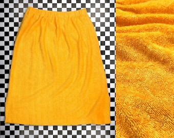 Vintage 90s Mustard Yellow Gold Soft Looped Terry Cloth Mod Textured Pencil Knee Length Elastic High Waist Pin Up Cover Up Beach Skirt S M L