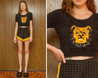 Vintage Cheerleader Black Chenille Bulldog Dog Letterman Varsity School Mascot Sequined Gold Yellow Cheer Fuzzy Crop Sweater Costume Top S M