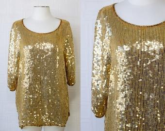 Vintage 80s 90s Gold Damaged Beaded Sequined Striped Shiny Metallic Half Doloman Sleeve Drop Shoulder Formal Dress Blouse Top Plus Size 2X
