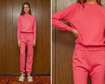 Vintage 80s Pink Pastel Raglan Long Sleeve Elastic Waist Tapered Stretch Ankle Soft Fleece Sweatpants Jogging Pants Sweater Tracksuit Set M